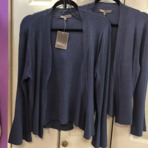 Woman's gray blue cardigan sweater